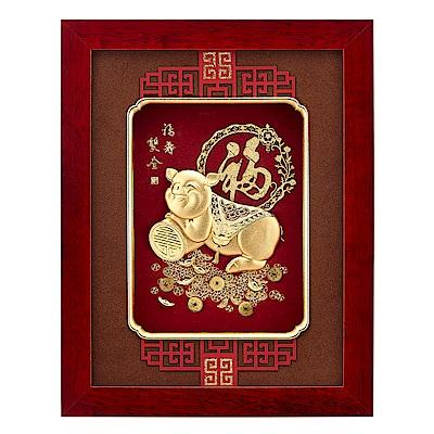 純金豬 金箔畫系列~【福壽雙全】....26 x33 cm