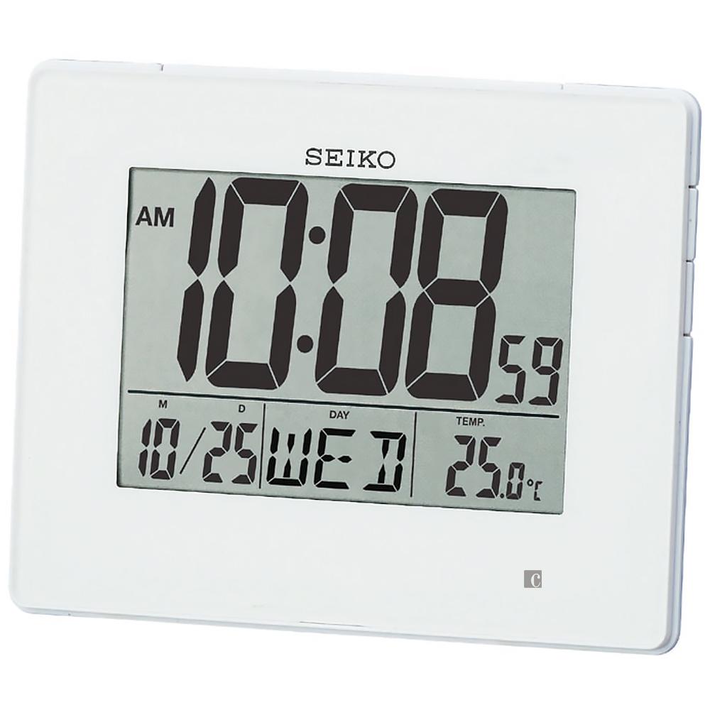 SEIKO 精工 嗶嗶聲貪睡電子鐘 QHL057W-白/12.2*16.5*2.5cm