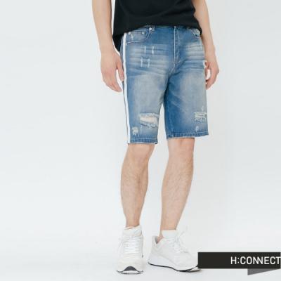 H:CONNECT 韓國品牌 男裝-滾邊刷破牛仔短褲-藍