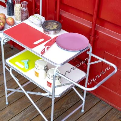 【索樂生活】TNR便攜式行動廚房組合料理桌灶台附燈桿架收納提袋 露營野炊烤肉煮飯摺疊鋁合金