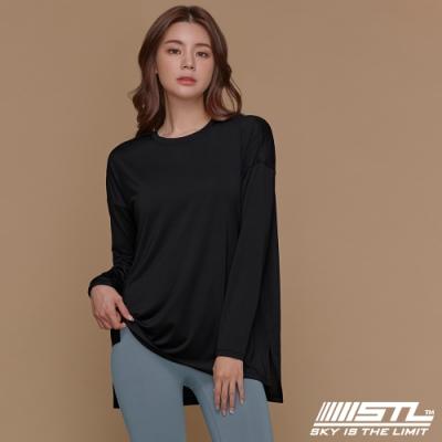 STL yoga Metro NY LS 韓國瑜珈 運動機能 地鐵 蓋臀長版寬鬆長袖上衣 黑