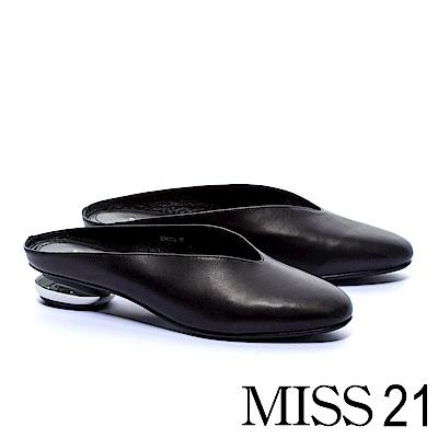 拖鞋 MISS 21 簡約素雅復古羊皮穆勒低跟拖鞋-黑