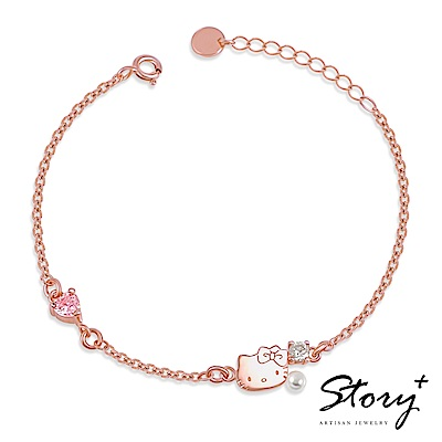 STORY故事銀飾-PinkHolic 閃亮粉紅時代手鍊-HelloKitty款