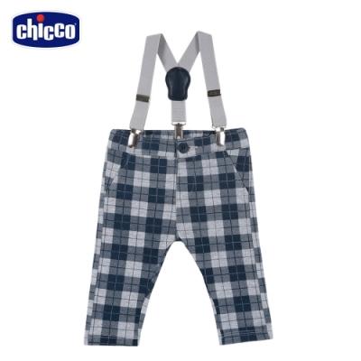 chicco-小熊家族-格紋活動吊帶長褲