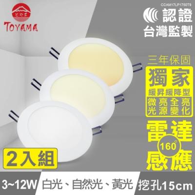 TOYAMA特亞馬3-12W超薄LED雷達微波感應崁燈微亮全亮型(3色任選)x2件