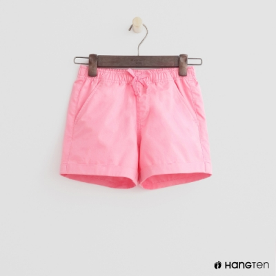 Hang Ten -童裝 - 純色綁帶造型短棉褲 - 粉