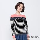 CHICA 偷吻甜心撞色字母條紋針織衫(2色)