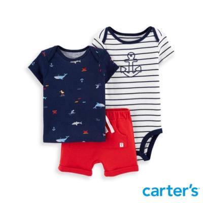 【Carter's】 小小水手3件組套裝(上衣/短褲)(6M-12M) 任選 (台灣總代理)