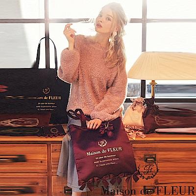 Maison de FLEUR  光澤感蝴蝶結裝飾手提包