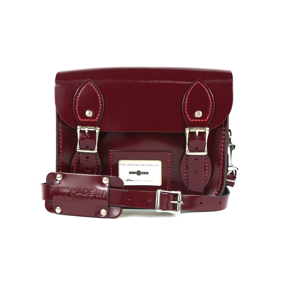 The Leather Satchel 英國手工牛皮劍橋包 肩背 後背包 浪漫紅 8.5吋