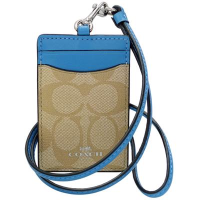 COACH淺卡C Logo拼接天空藍真皮掛式證件票卡夾