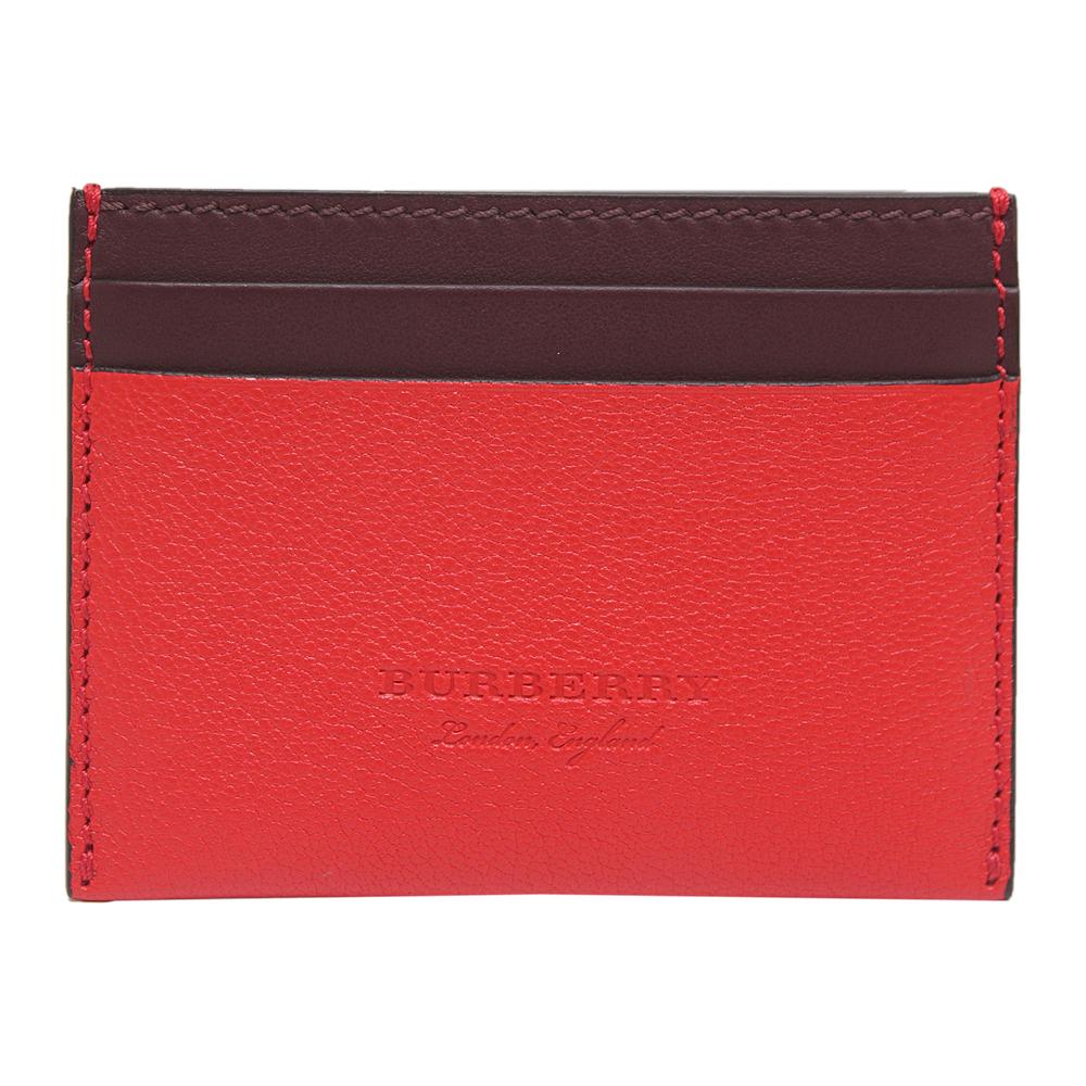BURBERRY 雙色拼接牛皮證件夾-紅色