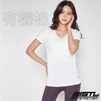 STL Yoga 韓國 Organic有機棉 SS 運動機能 V領短袖上衣 登山/戶外/瑜珈/重量訓練 雪白BrightWhite