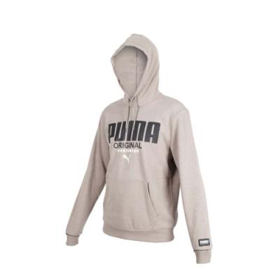 PUMA 男基本系列運動風連帽T恤-慢跑 路跑 長袖帽T 刷毛 保暖 灰黑