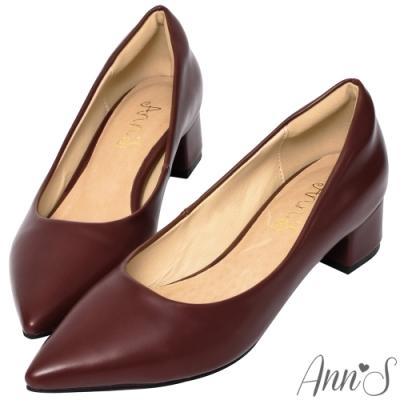 Ann'S加上優雅低跟版-復古皮革沙發後跟低跟尖頭鞋-酒紅