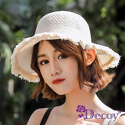 Decoy 空靈少女 編織夏季防曬遮陽草帽漁夫帽 米