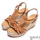 DIANA 度假女神—交錯線條編織底楔型涼鞋-棕
