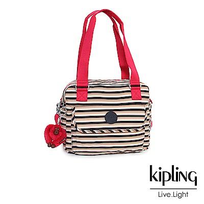 Kipling 手提包 簡約蜜橙條紋-中