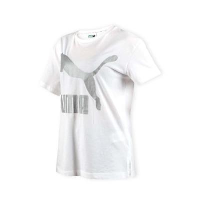 PUMA 女流行系列經典LOGO短袖T恤-短T 短袖上衣 慢跑 白銀