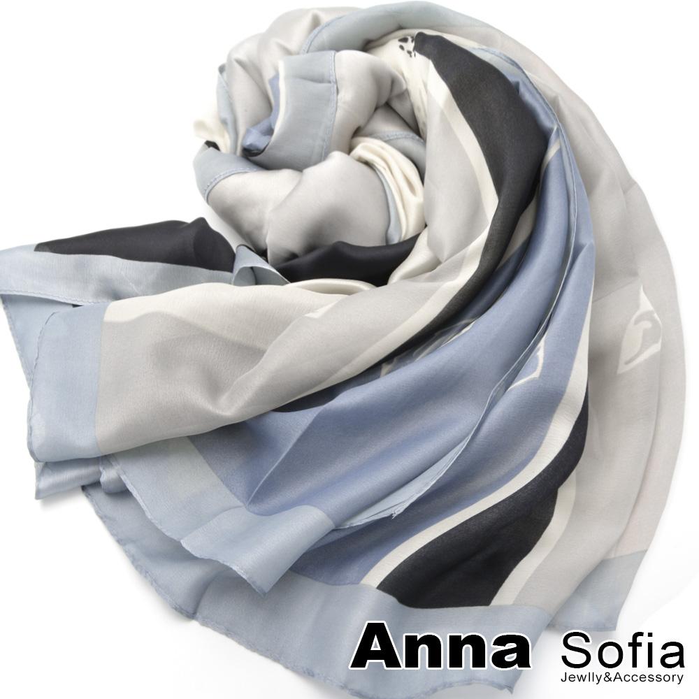 【滿688打75折】AnnaSofia 馬騰印大色塊 亮緞面仿絲披肩絲巾圍巾(銀灰藍)