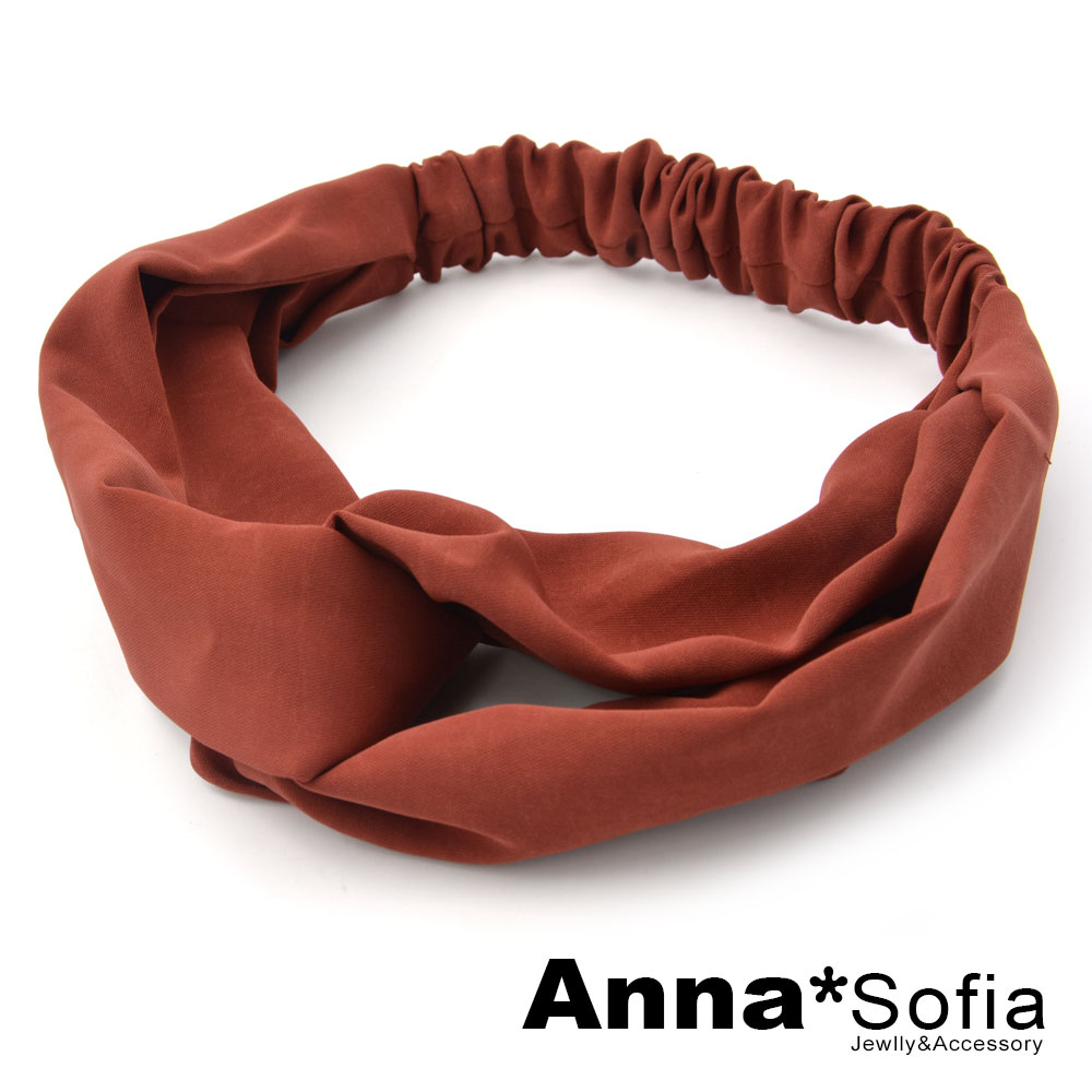 【2件7折】AnnaSofia 光感厚雪紡交叉結 彈性寬髮帶(磚紅色) @ Y!購物
