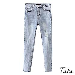 左抓破褲腳鬚邊牛仔褲 TATA