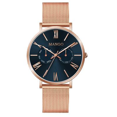 MANGO 米蘭奢華簡約雙眼腕錶-玫瑰金X黑-MA6731L-55R