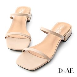 D+AF 簡約印象.一字雙帶方頭涼拖鞋*杏