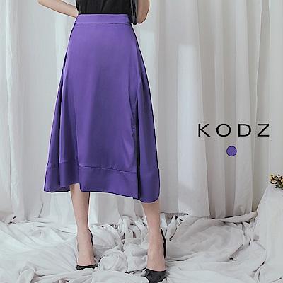 東京著衣-KODZ 亮眼雅緻緞面拼接中長裙-S.M
