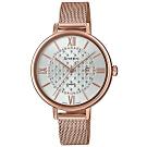 SHEEN 玫瑰金華麗點綴米蘭不鏽鋼腕錶-白(SHE-4059PGM-7A)/41.mm