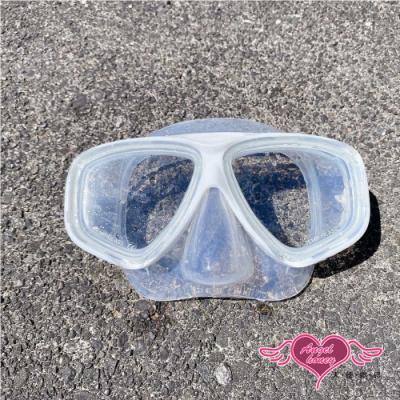 泳鏡 大鏡框面鏡 INS網美自潛專用 防霧蛙鏡 潛水浮淺游泳 白色 AngelHoney天使霓裳