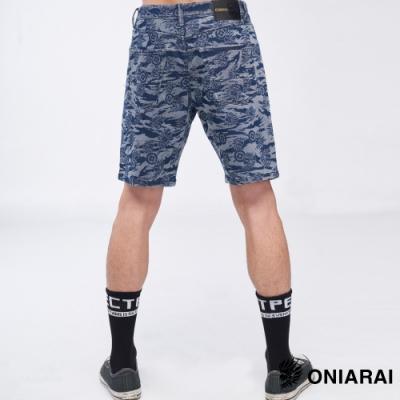 鬼洗 BLUE WAY- 滿版鬼洗虎紋運動丹寧短褲(深藍)