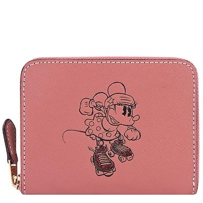 COACH Disney粉紅色米妮烙印拉鍊十二卡中夾