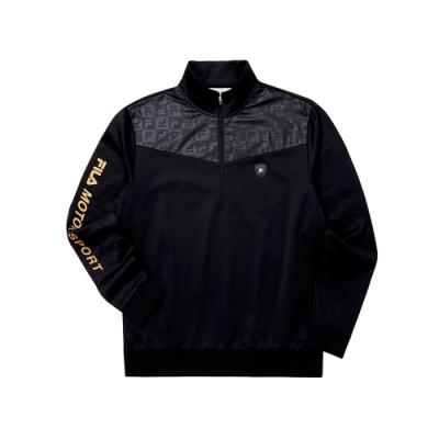 FILA 男吸濕排汗半門襟T恤-黑色 1TET-5473-BK