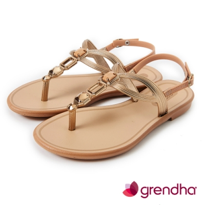 Grendha 璀璨宮廷寶石平底涼鞋--米色/金