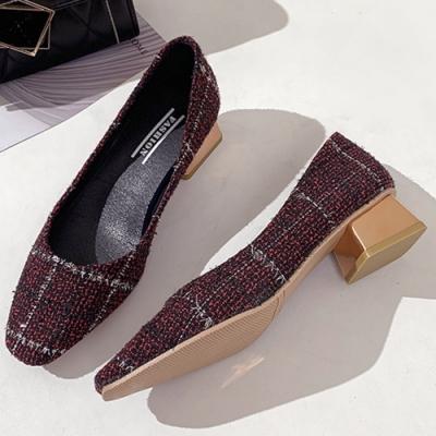 KEITH-WILL時尚鞋館 自外穿搭格紋方頭粗跟鞋-紅