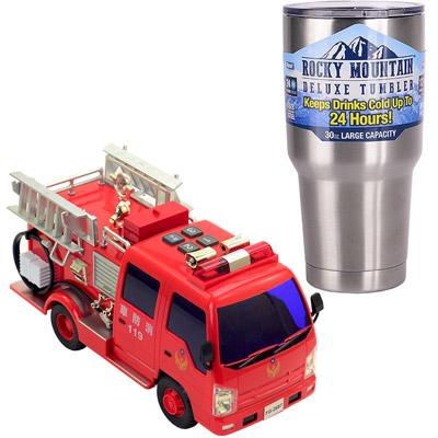 《救難車隊-消防車系列》燈光音效錄音磨輪車+冰霸杯組