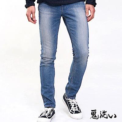 鬼洗 BLUE WAY 潮流鬼洗–復古彈力窄版錐形褲(淺藍)