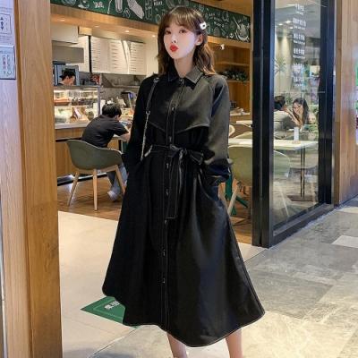 知性黑翻領時尚腰綁帶韓系中長款風衣L-4XL-KVOLL