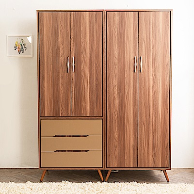 時尚屋 萊恩5尺三抽+一抽衣櫃  寬150.2x深59.4x高196cm