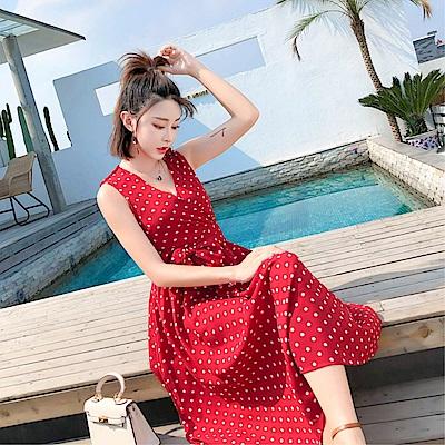 DABI 韓國風chic背心綁帶復古波點無袖洋裝