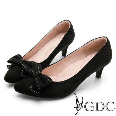 GDC-尖頭素色甜美蝴蝶結風格中跟鞋-黑色