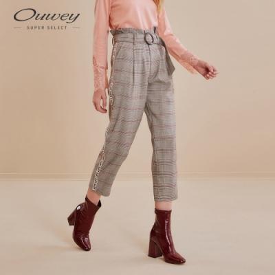 OUWEY歐薇 高腰花苞復古格紋西裝褲(紅)