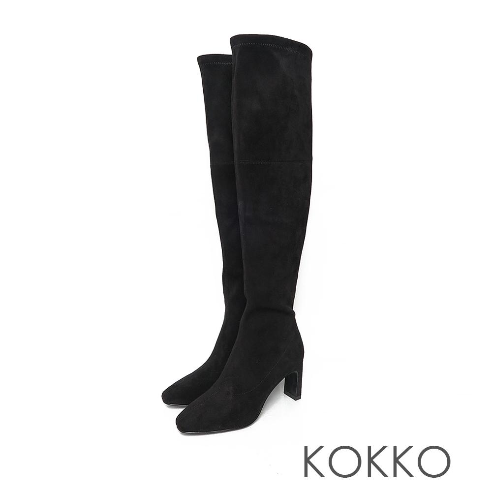 KOKKO顯瘦感方頭拉鍊扁高跟過膝襪靴霧面黑