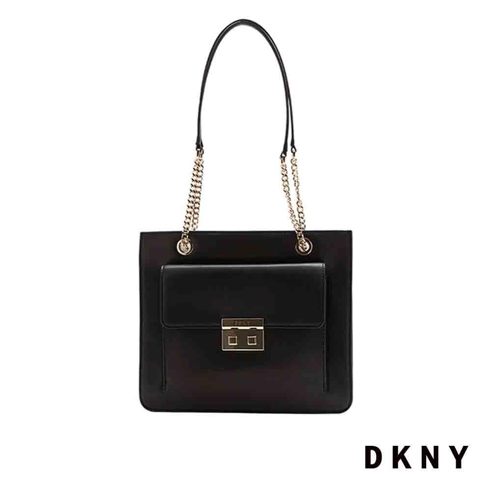 DKNY 個性金屬鍊條手提包 黑