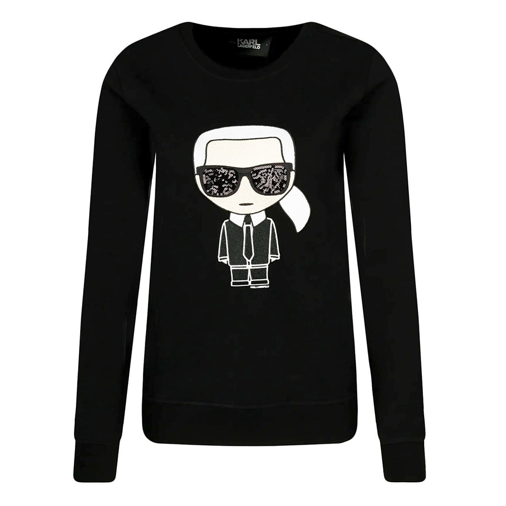 Karl Lagerfeld 亮片墨鏡老佛爺刺繡棉質長袖T恤/運動衫 (黑色)