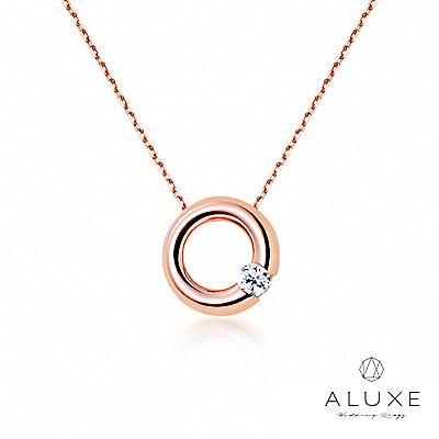 A-LUXE 亞立詩 Petite系列 Classic甜甜圈 玫瑰金美鑽項鍊
