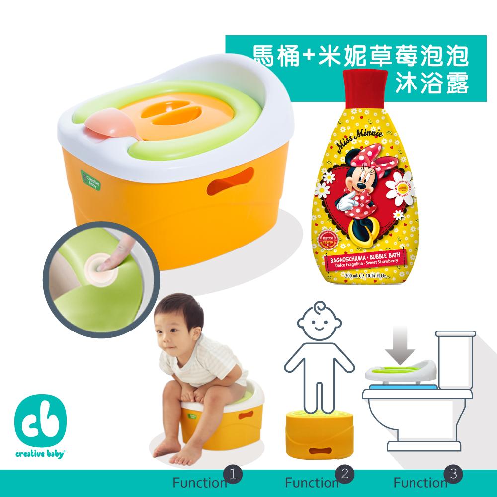 【Creative Baby 創寶貝】多功能三合一學習軟馬桶+米妮草莓泡泡沐浴 @ Y!購物