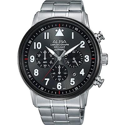 ALBA雅柏 飛行玩家三眼計時腕錶(AT3A69X1)-灰黑/44mm