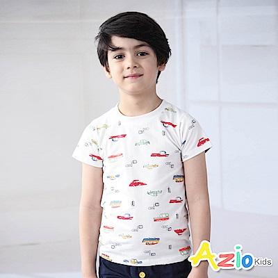Azio Kids 上衣 滿版彩色車子印花短袖T恤(白)